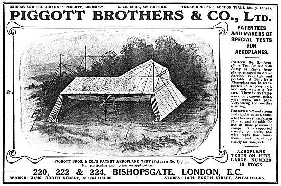 Piggott Brothers Patent Aeroplane Tents