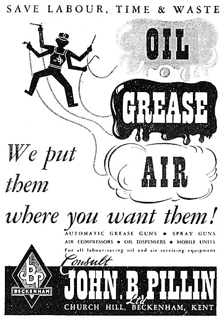 John B. Pillin Oil Dispensers, Grease & Spray Guns 1943