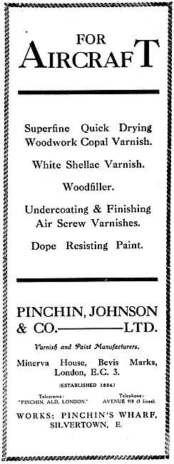 Pinchin Johnson Aircraft Paints & Varnishes 1917
