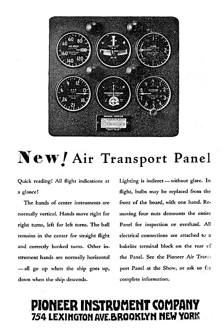 Pioneer Instrument Company Pioneer Air Transport Instrument Panel