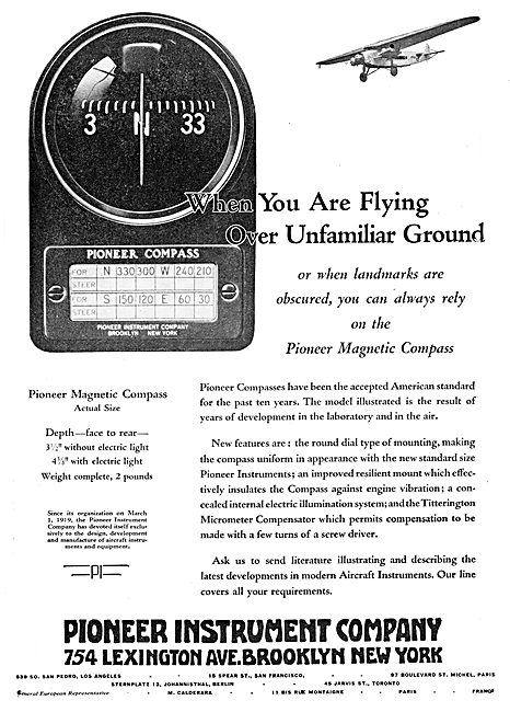 Pioneer Instrument Company Pioneer Compass 1929