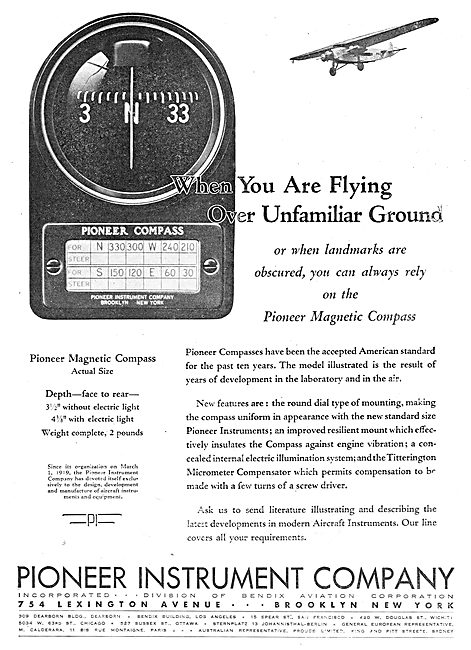 Pioneer Magnetic Compass For Aircraft