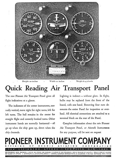 Pioneer Quick Reading Air Transport Instrument Panel