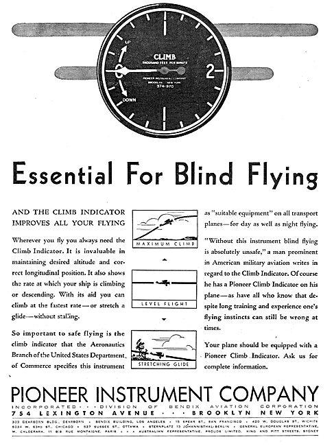 Pioneer Instrument Company Climb Indicator
