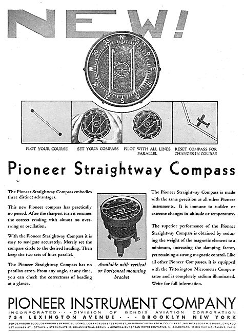Pioneer Instrument Company Straightway Aircraft Compass