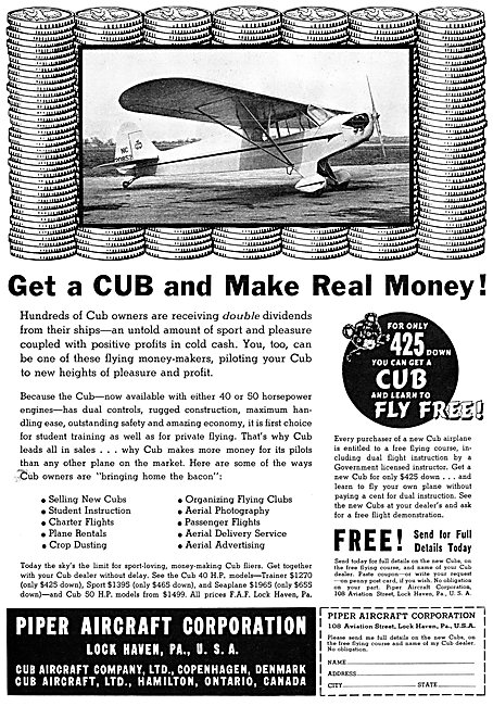 Piper Cub 1938 Advert