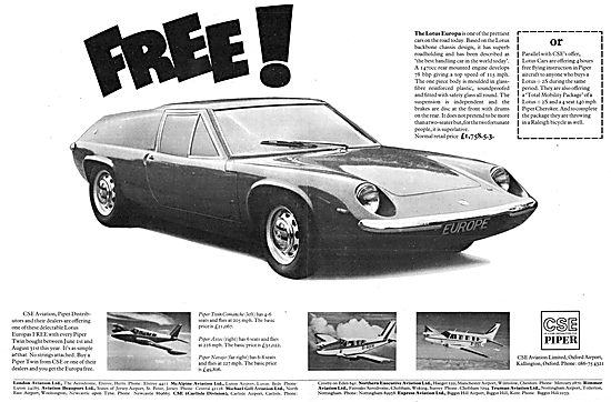 1970 Free Lotus Europa Sales Offer -  Piper Aircraft