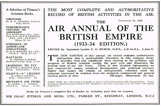 Air Annual Of The British Empire 1933-1934 Edition Burge