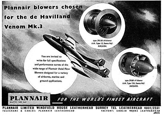 Plannair Blowers Chosen For The DH Venom Mk3