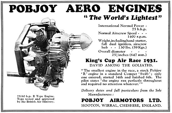 Pobjoy 75/80 h.p. R Type Aero Engine