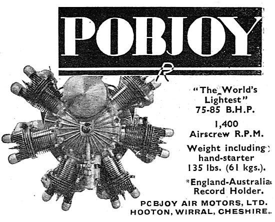 Pobjoy 7 Cylinder 75-85 HP Radial Aero Engine - Australia Flight