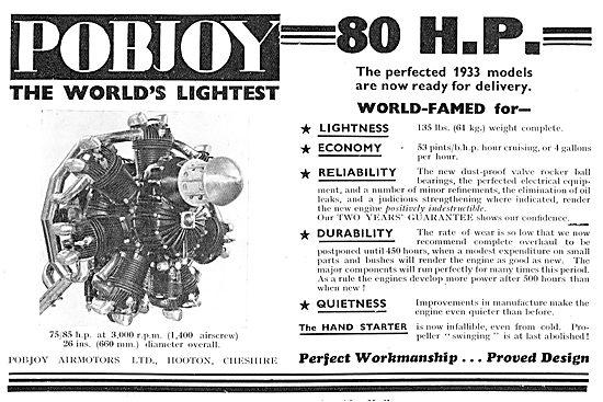Pobjoy Radial Aero Engine - 75-85 BHP At 3,000 RPM (1400 Prop )