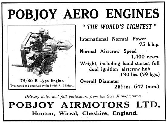 Pobjoy  75/85 HP  R Type Aero Engine