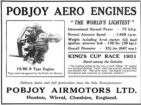 Pobjoy  75/85 HP Aero Engine - Kings Cup