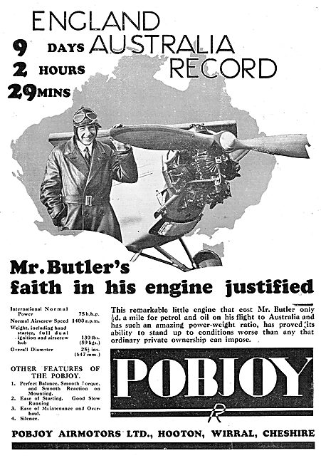 Pobjoy  75/85 HP Aero Engine - Butler Australia Flight