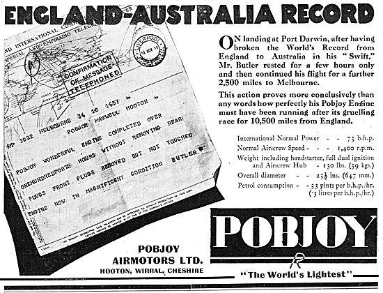 Pobjoy  75/85 HP Aero Engine - Australia Flight