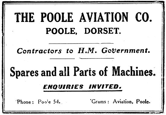 The Poole Aviation Co - Aircraft Spares Stockists 1919