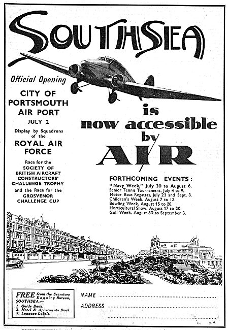Official Opening Of City Of Portsmouth Airport - July 2nd 1932