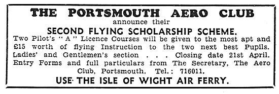 The Portsmouth Aero Club - Portsmouth Airport. Scholarship