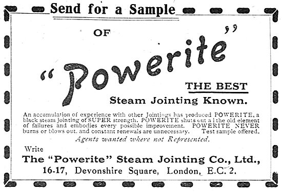 Powerite Steam Jointing For Aircraft Constructors