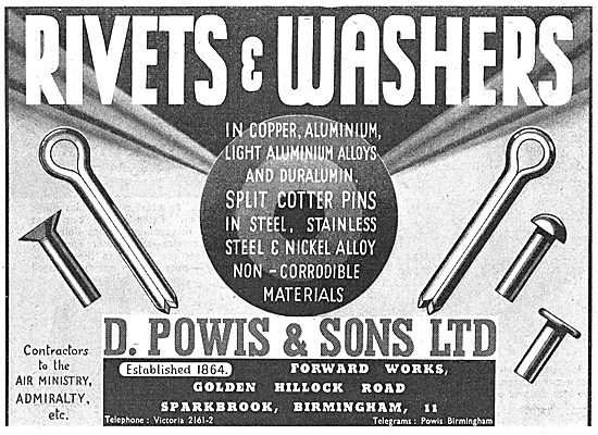 David Powis & Sons AGS, Rivets & Washers