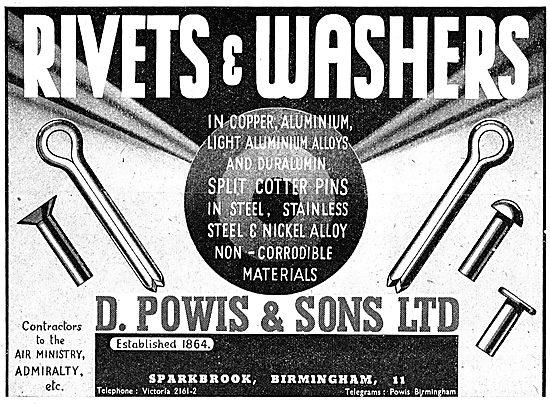D.Powis AGS Parts. Rivets& Washers 1943 Advert