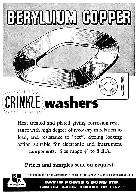 Powis Beryllium Copper Crinkle Washers