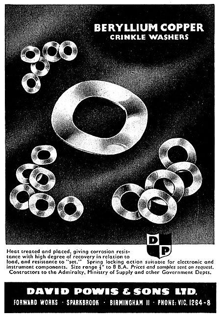 D.Powis Beryllium Copper Crinkle Washers