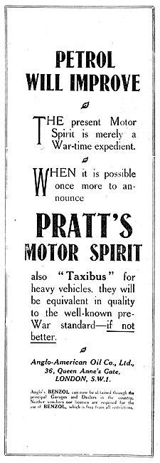 Pratts Perfection Motor Spirit - Benzol Taxibus 1919