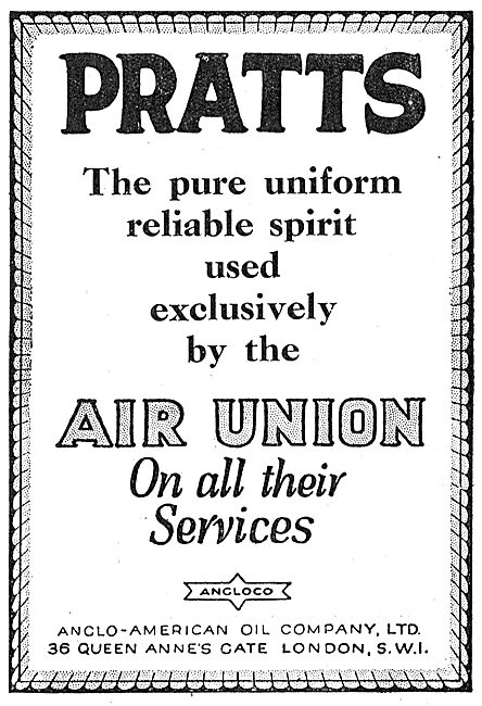 Pratts Aviation Spirit Used By The Air Union On All Services