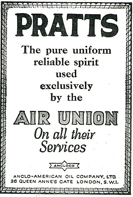 Pratts Aviation Spirit Used By Air Union On All Their Services