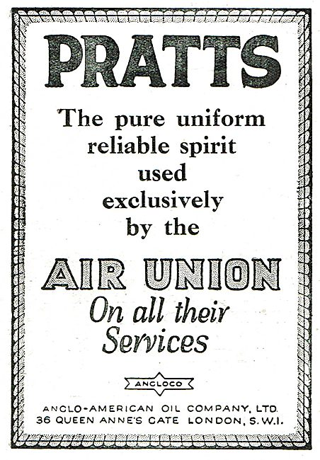 Pratts Pure Aviation Spirit Used Exclusively By The Air Union..