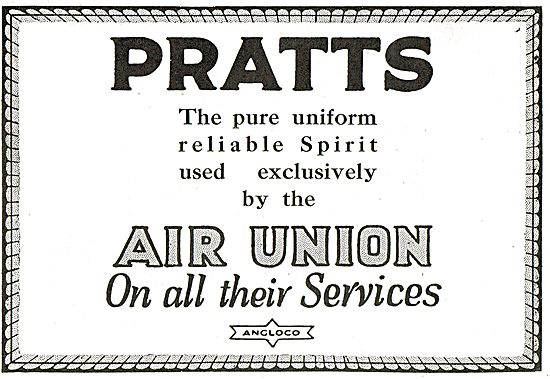 Pratts Aviation Spirit Used Exclusively By The Air Union