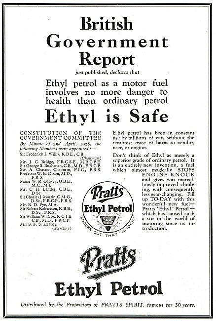 Pratts Aviation Spirit - Ethyl Safety: British Government Report