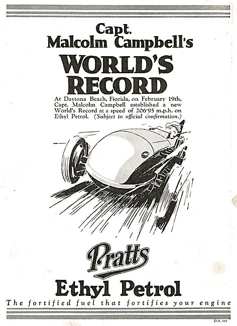 Capt Campbell's World's Land Speed Record On Pratts Ethyl Petrol