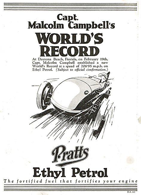 Capt Campbell's World's Land Speed Record On Pratts Ethyl Petrol
