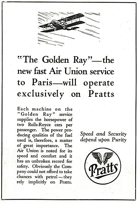 Pratts Aviation Spirit For The Fast Golden Ray Air Union Service