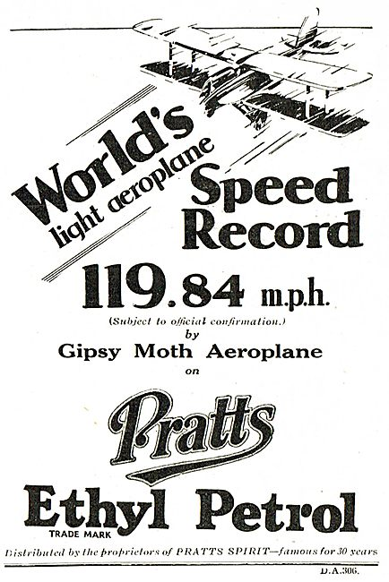 World Light Aeroplane Record Made On Pratts Ethyl Petrol