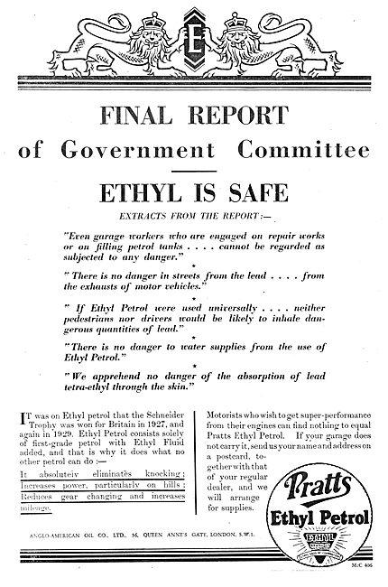 Pratts Aviation Spirit - Ethyl Is Safe