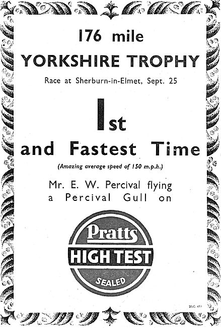 Percival Wins Yorkshire Trophy Using Pratts Aviation Spirit