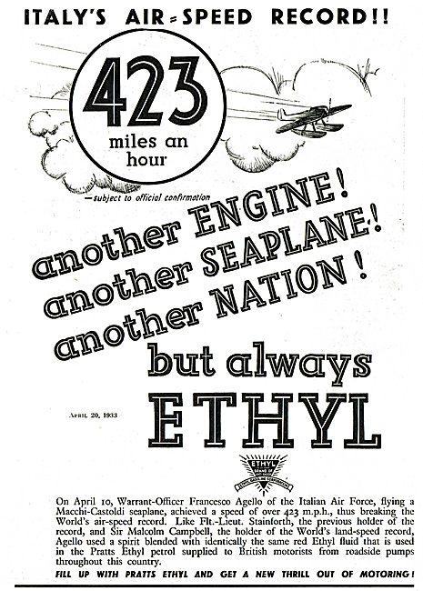 423 MPH Using Pratts Ethyl Fuel