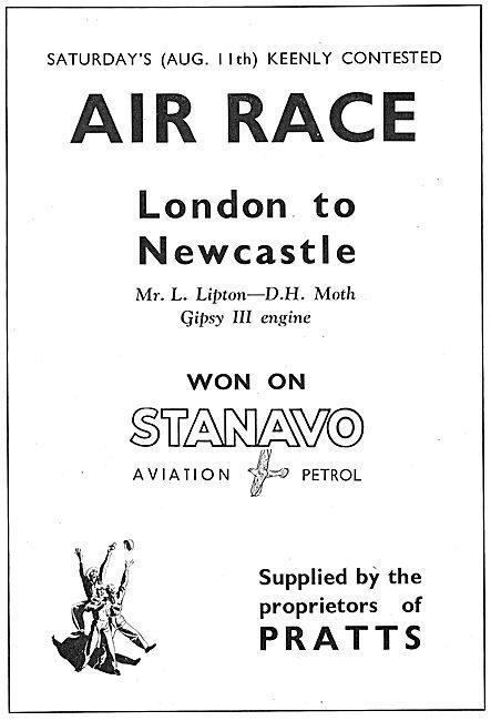 Pratts Aviation Spirit - Stanavo Wins London - Newcastle Air Race