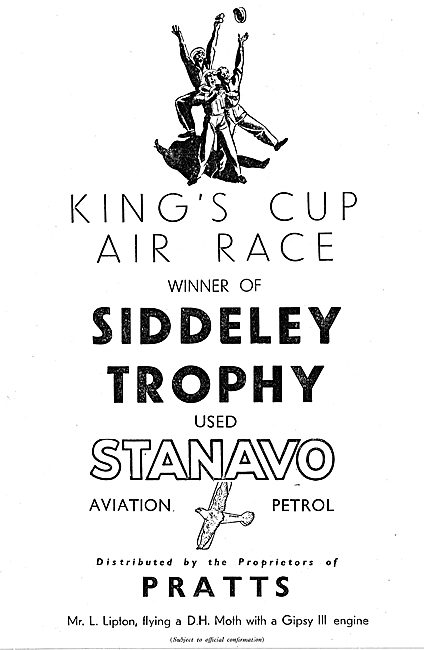 Pratts Stanavo Aviation Fuel Used By Kings Cup Air Race Winner