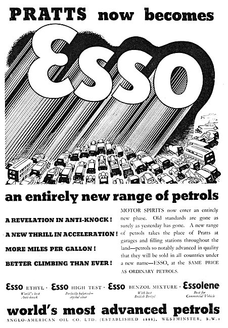 Pratts Now Becomes ESSO. Aviation Fuels & Lubricants