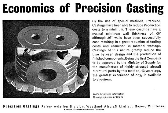 Precision Castings - Fairey Aviation Division Westland Aircraft