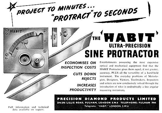 Precision Diamond : Machine Tools. HABIT Sine Protractor