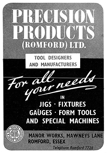 Precision Products. Romford. Jigs, Tools & Special Machines