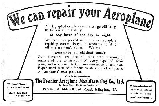 Premier Aeroplane Manufacturing Co: Aeroplanes Built & Repaired