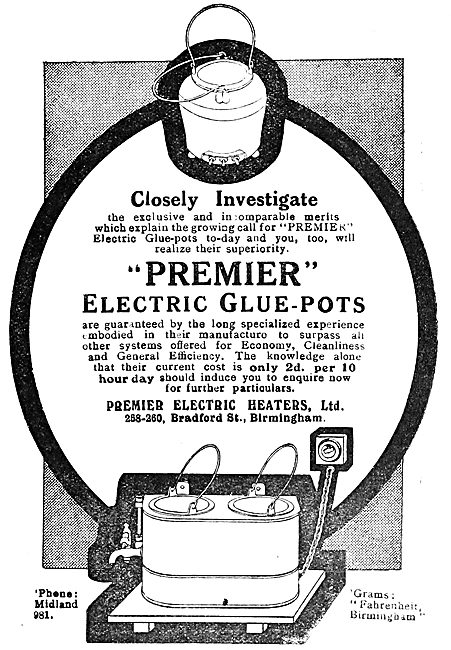 Premier Electric: Electrically Heated Glue Pots  1919 Advert