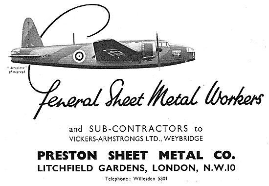 Preston Sheet Metal. Aircraft Sheet Metal Workers
